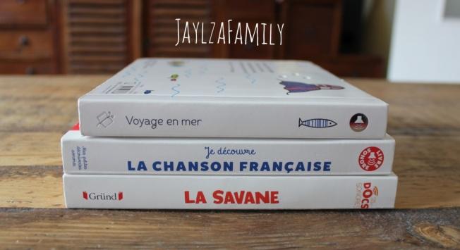 Docs sonores La savane Gründ, Voyage en mer Didier jeunesse, Je découvre la chanson française Gallimard jeunesse